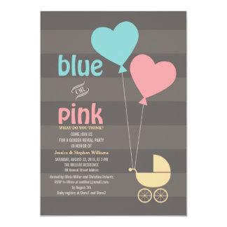 El género gris azul o rosado del bebé revela al invitación 12,7 x 17,8 cm
