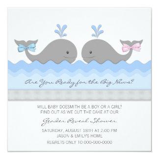 """El género lindo de la ballena del bebé revela invitación 5.25"""" x 5.25"""""""