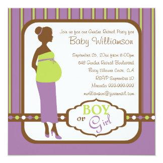 El género púrpura y verde retro del bebé revela al comunicados personales