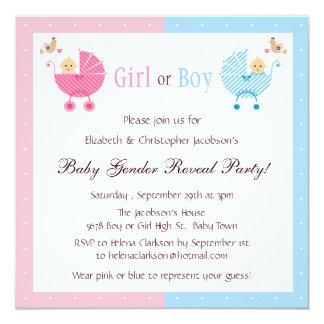 El género revela a bebés del fiesta en cochecitos invitación 13,3 cm x 13,3cm