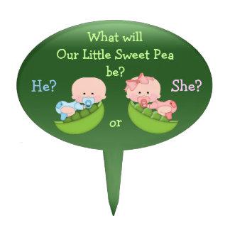 El género revela a bebés lindos del dibujo animado figuras de tarta