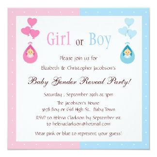 El género revela bebés del fiesta y los globos del invitación 13,3 cm x 13,3cm