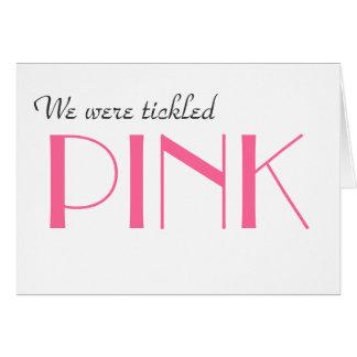 El género rosado elegante revela le agradece carda felicitacion