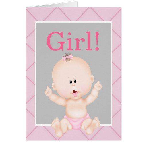 El género rosado lindo del chica revela le agradec tarjetas