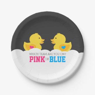 El género rosado o azul Ducky de goma revela al Platos De Papel