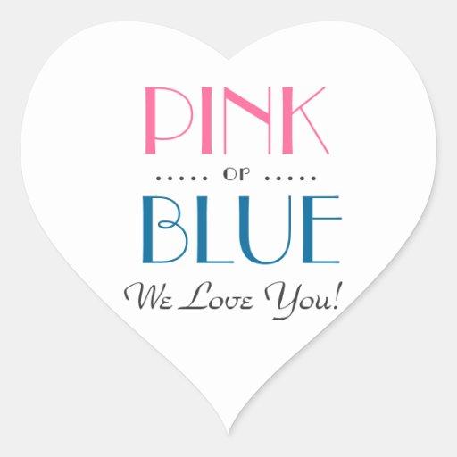 El género rosado o azul elegante revela al pegatin calcomania de corazon personalizadas