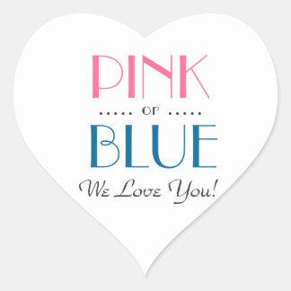 El género rosado o azul elegante revela al pegatina en forma de corazón