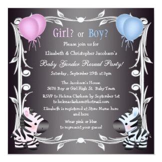 El género rosado y azul lindo del bebé de las invitación 13,3 cm x 13,3cm