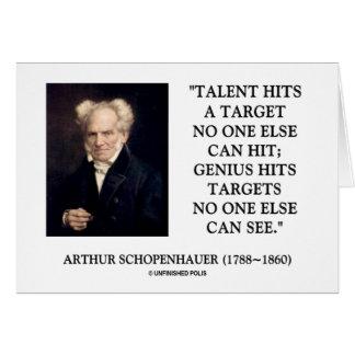 El genio del talento de Schopenhauer golpea blanco Tarjeton
