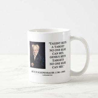 El genio del talento de Schopenhauer golpea Taza Básica Blanca