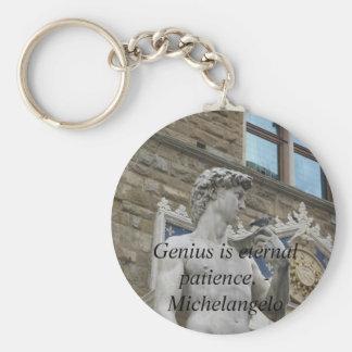 El genio es paciencia eterna. - Cita de Miguel Áng Llaveros Personalizados