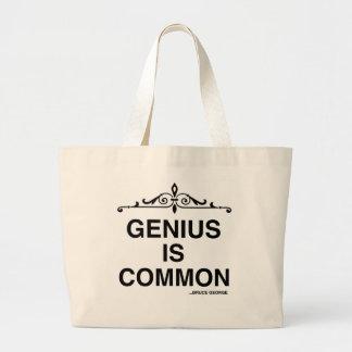 """El """"genio es"""" tote enorme común bolsa tela grande"""