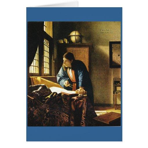 El geógrafo de Juan Vermeer (circa 1669) Tarjeta De Felicitación