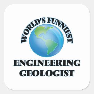El geólogo más divertido de la ingeniería del calcomanias cuadradas