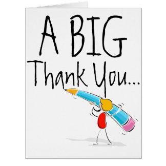 El gigante grande le agradece cardar tarjeta de felicitación grande