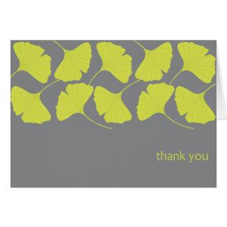 El Ginkgo agradece le/gris Tarjeta Pequeña