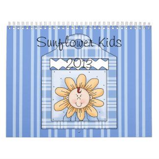 El girasol 2013 embroma grande azul calendario