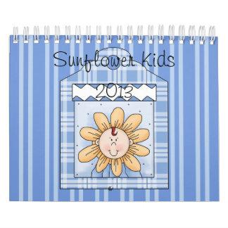 El girasol 2013 embroma pequeño azul calendario de pared