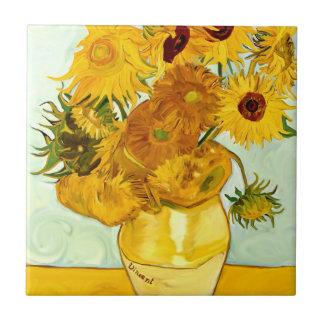 El girasol amarillo de Vincent van Gogh que pinta  Azulejo Cuadrado Pequeño
