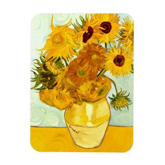 El girasol amarillo de Vincent van Gogh que pinta  Iman Rectangular