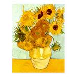 El girasol amarillo de Vincent van Gogh que pinta  Postal