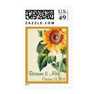 El girasol amarillo del vintage nombra el boda de sellos