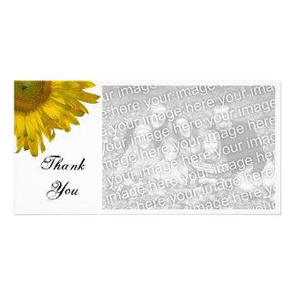 El girasol amarillo le agradece tarjeta de la foto tarjeta fotográfica