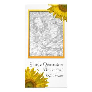 El girasol amarillo Quinceanera le agradece Tarjeta Fotográfica