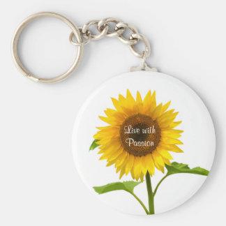 El girasol amarillo vive con llavero de la flor de