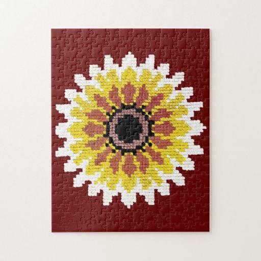 El girasol blanco amarillo rojo colorido borda mir puzzles con fotos