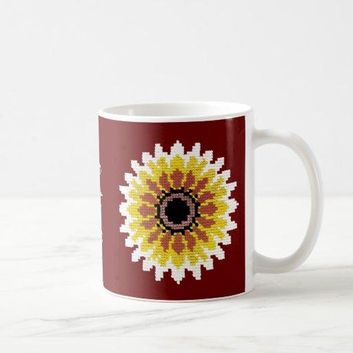 El girasol blanco amarillo rojo colorido borda mir taza básica blanca