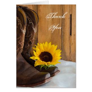 El girasol del país occidental le agradece tarjeta pequeña
