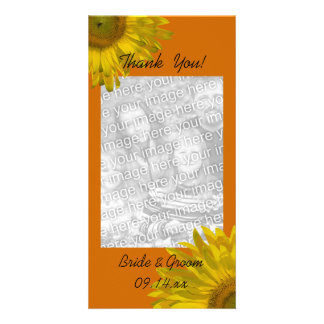 El girasol en el naranja le agradece tarjeta de la tarjeta fotográfica