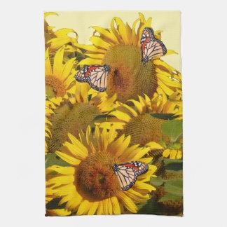 El girasol floral florece las toallas de cocina de