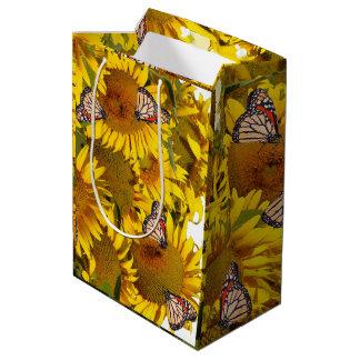 El girasol florece el bolso floral del regalo de bolsa de regalo mediana