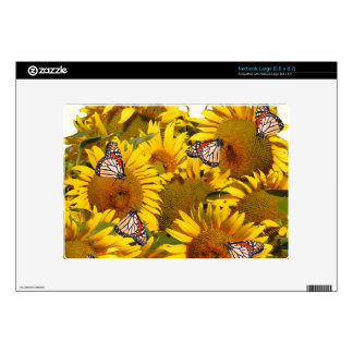 El girasol florece la mariposa de monarca Gardene Netbook Grande Skin