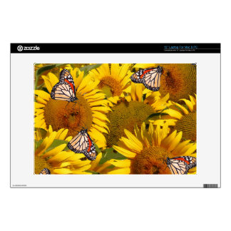 El girasol florece la piel de las mariposas de skins para 33cm portátiles