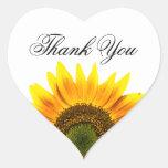 El girasol le agradece los sellos del sobre o del calcomania de corazon personalizadas