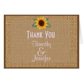 El girasol personalizado de la arpillera le tarjeta de felicitación