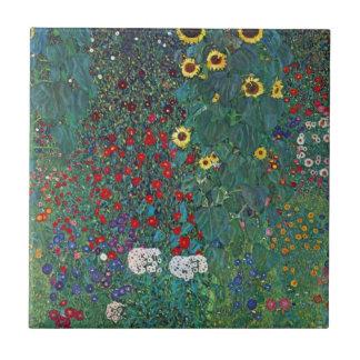 El girasol por Klimt, vintage de Farmergarden w Azulejo Cuadrado Pequeño