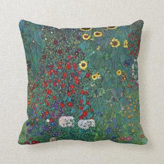 El girasol por Klimt, vintage de Farmergarden w Cojín