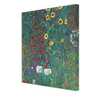 El girasol por Klimt, vintage de Farmergarden w Impresión De Lienzo