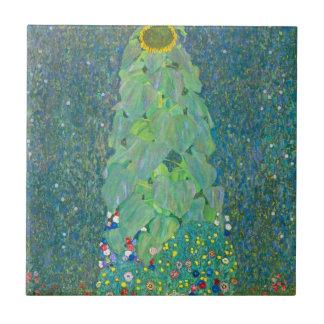El girasol por Klimt, vintage florece el arte Azulejo Cuadrado Pequeño
