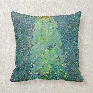 El girasol por Klimt, vintage florece el arte Cojín Decorativo