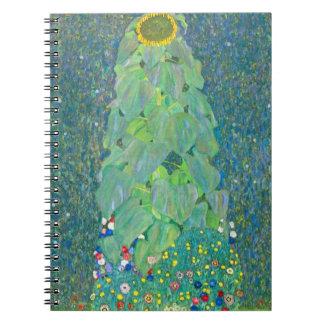 El girasol por Klimt, vintage florece el arte Libros De Apuntes Con Espiral