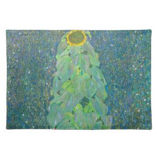 El girasol por Klimt, vintage florece el arte Manteles Individuales