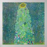 El girasol por Klimt, vintage florece el arte Posters