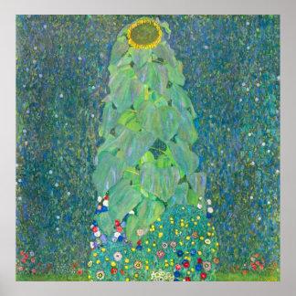 El girasol por Klimt, vintage florece el arte