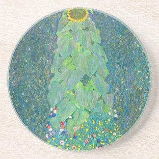 El girasol por Klimt, vintage florece el arte Posavasos De Arenisca