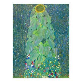 El girasol por Klimt, vintage florece el arte Tarjeta Postal